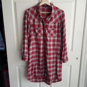 Madewell Dresses - Madewell Red Flannel Daywalk Shirt Dress Size XS